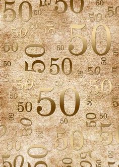 Natural Gold 50 Birthday A4 Backing Paper on Craftsuprint designed by Ann-marie Vaux
