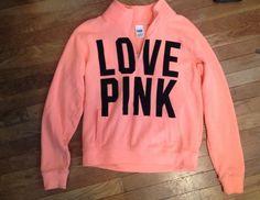Victorias Secret Pink 1/2 Zip Pullover Sweatshirt Hoodie Size Small /Orange