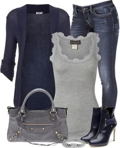 More great outfit ideas! More great outfit ideas! More great outfit ideas! More great outfit ideas! Winter Outfits Women, Fall Outfits, Casual Outfits, Ladies Outfits, Gray Outfits, Woman Outfits, Casual Wear, Look Camisa Jeans, Look Fashion