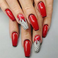 Pop art nails by MisAshton from Nail Art Gallery Funky Nail Designs, Funky Nail Art, Funky Nails, Acrylic Nail Designs, Cool Nail Art, Trendy Nails, Nail Art Designs, Colorful Nails, Ongles Pop Art