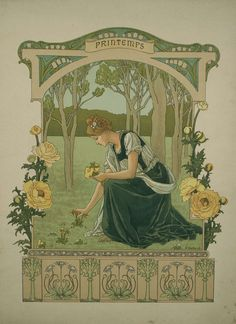 """Set of Four French Art Nouveau """"Seasons"""" by Elisabeth Sonrel, 1890 