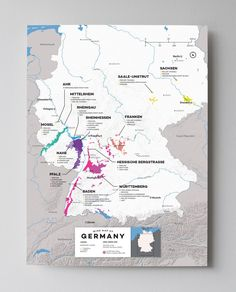 High quality, detailed, and accurate map of major wine appellations in Germany. Available as a poster/print. Designed by experts for display or education. Vivid high contrast color coded reference GIS wine map.