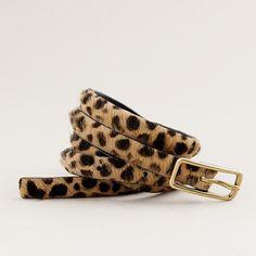 Skinny Calf Hair Leopard Belt