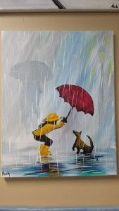 """Bwrw Glaw: This painting gives me an Idea.and Evil """"IT"""" Idea Umbrella Painting, Rain Painting, Umbrella Art, Spring Painting, Painting People, Painting & Drawing, Painting Lessons, Art Lessons, The Art Sherpa"""