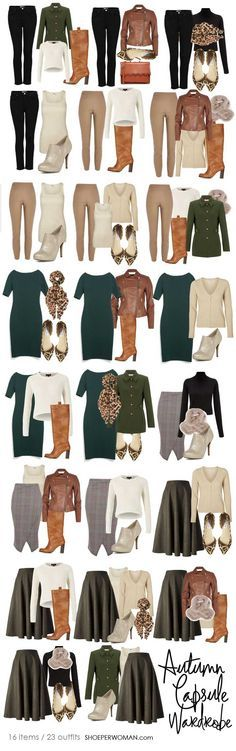 selection of autumn outfits created from a small capsule wardrobe - it would be better without black