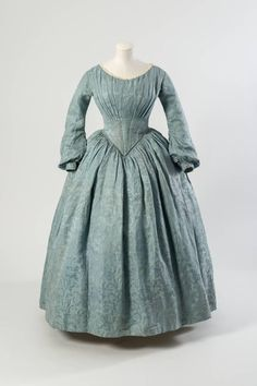 1840s - Light blue silk dress