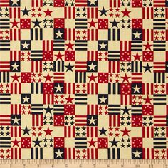 Made in the USA Antique Flags Red, Blue, Antique from @fabricdotcom  This cotton print fabric is made in the USA and perfect for quilting, apparel and home decor accents. Colors include red, natural and blue.