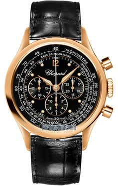 Chopard Mille Miglia Vintage chronograph polished 18kt rose gold case.Black dial with gold rimmed sub-dials.