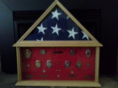 Firefighter Flag & Metal Shadow Box