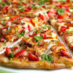 Strawberry Balsamic Pizza with Chicken, Sweet Onion, & Applewood Bacon. Trust me on this one--once the ingredients are read, you will be making this pronto!