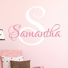 Nursery Custom Name Wall Decal Sticker, 16' W by 14' H, Girl Name Wall Decal, Girls Name, Wall Decor, Personalized, Girls Name Decor, Girls Nursery, Girls Bedroom, PLUS FREE WHITE HELLO DOOR DECAL * Want additional info? Click on the image-affiliate link. #KidsRoomDecor