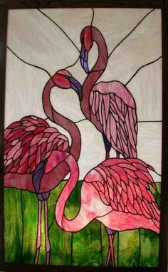 Image result for pink flamingo stained glass lamp