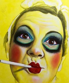 Smoke DollSamantha Yellow, mixed media on canvas, 2016 Smoke On The Water, Italian Painters, Artist Life, Mixed Media Canvas, Red Lips, Still Life, Opera, Contemporary Art, Halloween Face Makeup