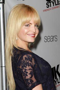 Mena Suvaris blonde hairstyle with bangs