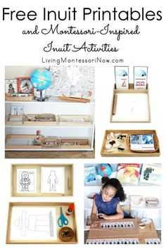 Lots of free Inuit printables along with ideas for preparing Montessori-inspired Arctic and Inuit activities using free printables; perfect for homeschool or classroom for a variety of ages - Living Montessori Now Educational Activities For Toddlers, Preschool Themes, Montessori Activities, Montessori Homeschool, Montessori Kindergarten, Geography Activities, Social Activities, Kids Around The World, Montessori Materials