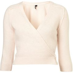 Knitted Fluffy Ballet Wrap ($50) ❤ liked on Polyvore featuring tops, cardigans, sweaters, ballet, dance, pink cardigan, wrap cardigan, wrap style tops, pale pink top and wrap top