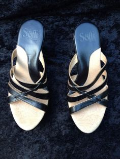 Sofft Black Leather Strappy Heels Slip On Heels Size 7.5 M #Sofft #Strappy #Party