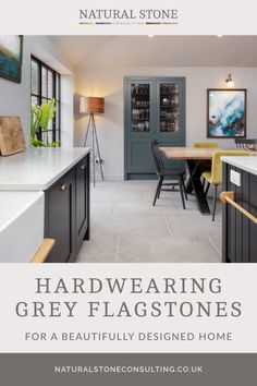 A truly welcoming – and also highly functional – family kitchen space has been created in one of the latest finished projects featuring our antiqued grey flagstones for the floor. The natural stone flooring works beautifully across the interior space, and is ideal in high traffic areas. Head across to the Natural Stone Consultancy blog for all the details. #naturalstoneconsultancy #naturalstoneflooring #flagstones Flagstone Flooring, Limestone Flooring, Natural Stone Flooring, Kitchen Cabinetry, Kitchen Flooring, Patio Tiles, Family Kitchen, Stone Tiles, Luxury Interior