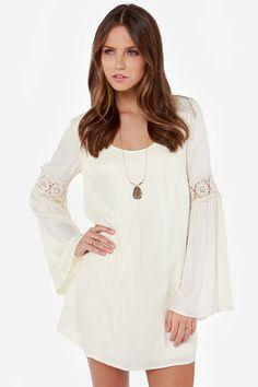 Coveted Company Long Sleeve Cream Shift Dress at Lulus.com!