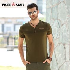 Check current price Promotion Men t-shirts Quality Cotton Army Green Casual t-shirt Fitness Slim Military V-neck t-shirt FreeArmy Brand MS-6263A just only $14.93 with free shipping worldwide  #tshirtsformen Plese click on picture to see our special price for you