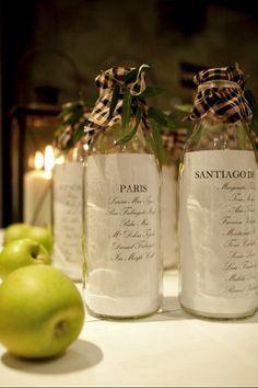 Ideas de seatings de boda con botellas recicladas. Unas propuestas muy originales para aquellos novios amantes del buen vino.