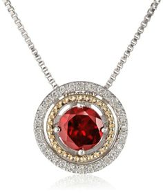 """S&G Sterling Silver and 14k Yellow Gold with Diamond Halo Pendant Necklace, 18"""""""