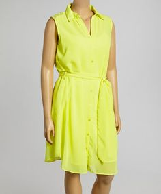 Look what I found on #zulily! Yellow Lace Shirt Dress - Plus by 3 Angels #zulilyfinds