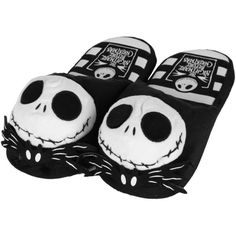 Disney Women's Jack Skellington Black Slippers L/10-11 ($4.87) ❤ liked on Polyvore featuring shoes and slippers