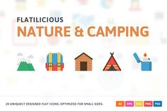 Nature & Camping Flat Icons by Pixel Bazaar on @creativemarket