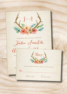 Rustic Floral Antlers Wedding Invitation and Response Card - 100 Professionally Printed Invitations & Response Cards by PaperHeartCompany on Etsy