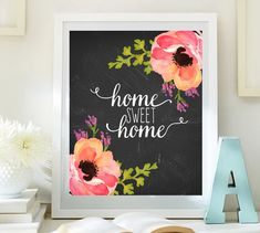 Home sweet home print Entrance wall art par LittleEmmasFlowers