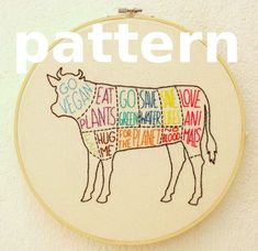 Vaca vegana - patrón de bordado a mano super fácil - patrón digital en PDF descarga instantánea - despiece vacuno versión vegana Simple Embroidery, Modern Embroidery, Embroidery Art, Embroidery Stitches, Embroidery Patterns, Japanese Embroidery, Back Stitch, Cross Stitch, Embroidery Transfers