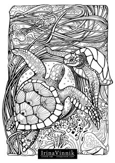 Manic Botanic, Zifflin's Tension Taming Coloring book, invites you to get in touch with nature in all of its glory. In incredible detail, Vinnik has captured some of nature's most dynamic duos. Time slows down so you can explore the undergrowth, and al Animal Coloring Pages, Coloring Book Pages, Printable Coloring Pages, Coloring Sheets, Photo Charms, Colorful Drawings, Line Drawing, Line Art, Sketches
