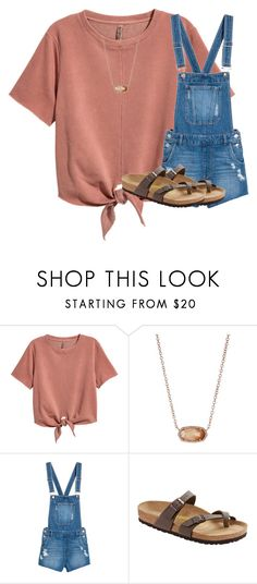 """""""Untitled #2694"""" by laurenatria11 ❤ liked on Polyvore featuring H&M, Kendra Scott and Birkenstock"""