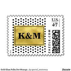 Gold Glam Polka Dot Monogram Wedding Postage Stamp