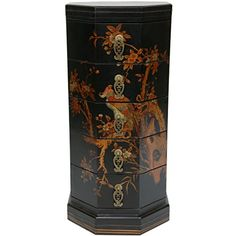 Oriental Furniture Black Lacquer Five Drawer Octagonal Chest(B)