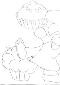 risco boneco ginger com cupcakes 1