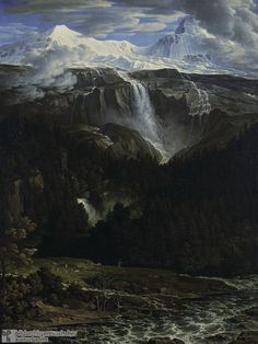 """Joseph Anton Koch (1786-1839), Schmadribach Waterfall in Lauterbrunnen Valley (1811)  During the Romantic era, landscape painting gained increasing respect as a pictorial genre equal in importance to historical and religious painting. Joseph Anton Koch  Koch rebelled against the primacy of classical figure drawing.  Koch's particular brand of painting was known as the """"heroic"""" landscape."""