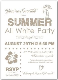 all white party invitation, white party invitation, summer white, Party invitations