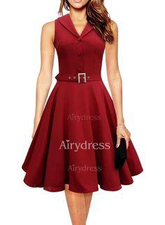 Dress - $21.18 - Solid Wrap V-Neckline Knee-Length A-line Dress (1955134813)