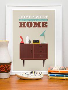 Mid century modern, Retro poster, Danish modern, scandinavian design print, wall decor  Home Sweet Home 50 x 70