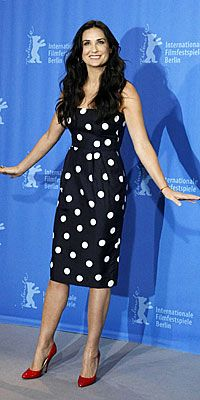 Who made Demi Moore's black and white polka dot dress that she wore to the Happy Tears photocall in Berlin?