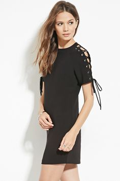 Forever 21 Contemporary - A woven shift dress featuring lace-up short sleeves and a concealed back zipper.