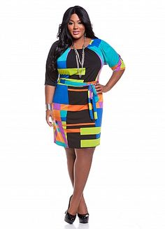 Ashley Stewart: Web Exclusive: Bold Geometric Print Dress  Style: F892967  Web Exclusive: Dare to be bold in this sassy dress! Plus size dress features a scooped elasticized neckline, ¾ length sleeves and a self-tie belt at waist. A colorful geometric print shows all whose boss.  Hand wash cold  Made in U.S.A  95% polyester, 5% spandex