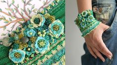 Crochet cuff with green flowers