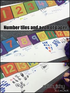 Number tiles and a roll of paper. I would use with numbers to 100 for Year One. Maths Eyfs, Numeracy Activities, Eyfs Classroom, Preschool Math, Kindergarten Math, Fun Math, Classroom Activities, Teaching Math, Eyfs Curriculum