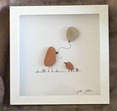 Suppression de promenades sur la plage Art Maman oiseau et oiseau de bébé avec ballon £20 plus p & p