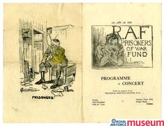 "PoW concert programme.    Programme for a concert held in aid of the RAF Prisoners of War Fund. Many ""comforts funds"" were established during and after the war."