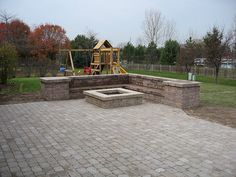 fire pit ideas pictures | ... this Bergerac 4pc Paver Patio with a Weston Wall bench and fire pit