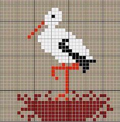 Obsessive Craft: Stork, cute, animal, leylek, cross stitch, xstitch, point de croix, punto cruz, diy, handmade, çarpı işi, etamin, needlework
